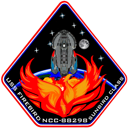 Phoenix flying in the night sky. (The art style resembles a unit patch that gets sewn onto a military uniform.)